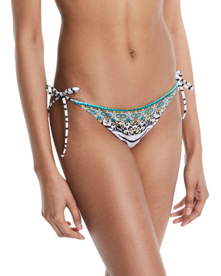 Embellished Tie-Side Swim Bikini Bottoms