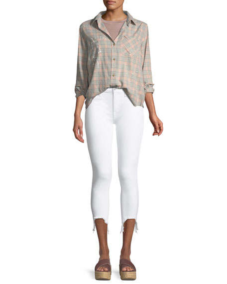 Tally Mid-Rise Skinny Crop w/ Chewed Hem