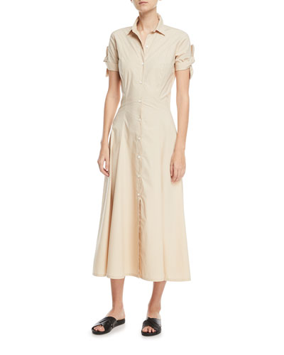 Stretch Cotton Shirt Dress w/ Tie Sleeves