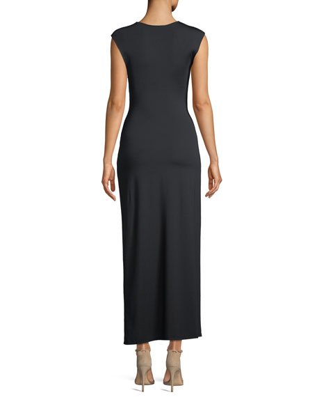 Knot-Front Sleeveless Maxi Dress