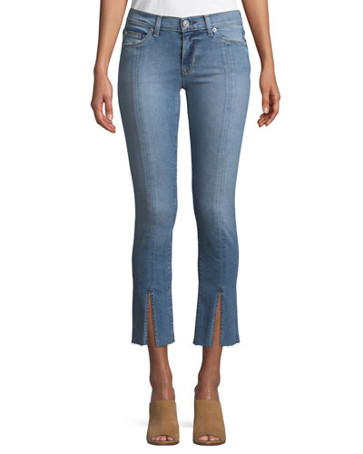 Nico M.R Straight-Leg Ankle Jeans w/ Front Slit