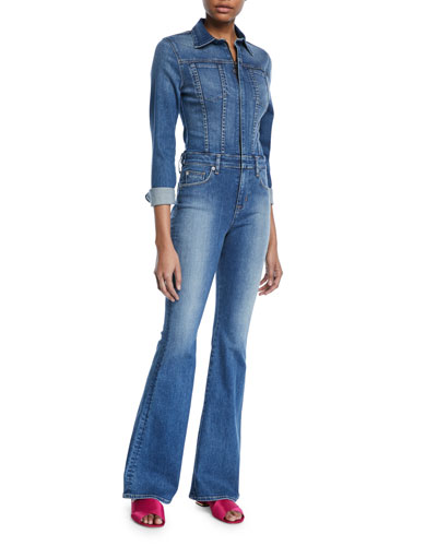 Holly Rambler Long-Sleeve Flare Denim Coverall Jumpsuit
