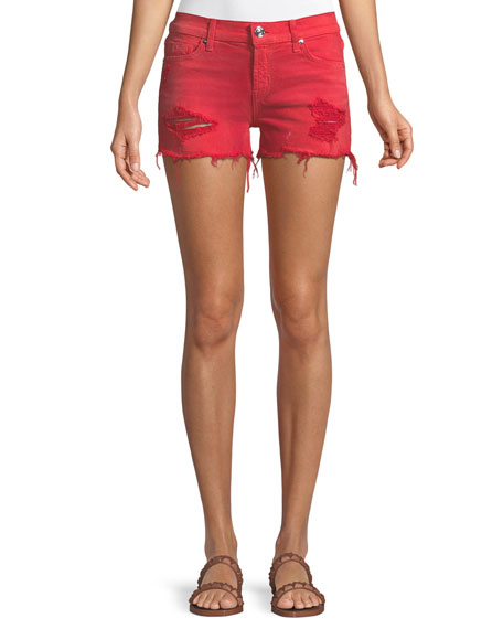 Kenzie Cutoff Denim Shorts In Red Alert