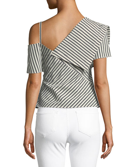 Bryson Striped One-Shoulder Fold-Over Top