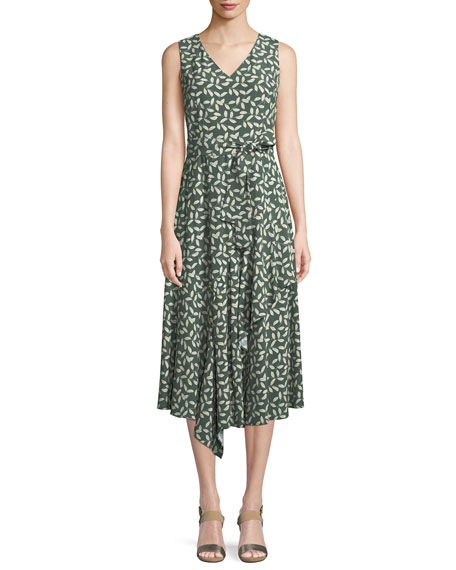 Telson Sleeveless Leaf-Print Dress in Bottlegreen Multi