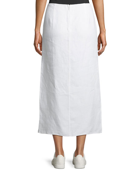 Double-Face Linen Slit Skirt