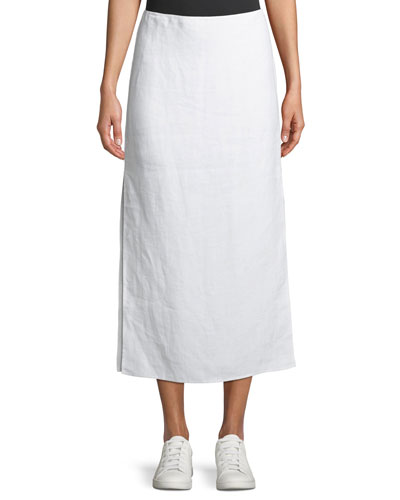 Double-Face Linen Slit Skirt
