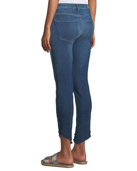 Loren Kaylor Skinny Jeans w/ Grommet Asymmetric Hem