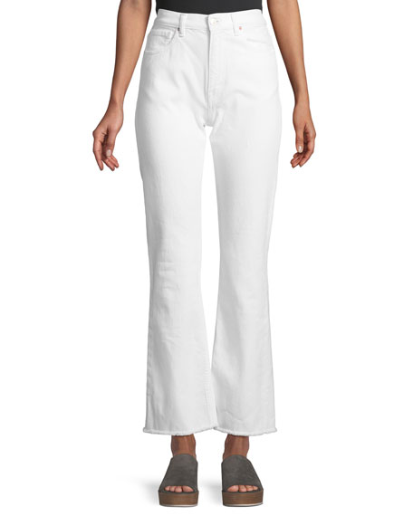 ACYNETIC STELLA HIGH-WAIST WIDE-LEG JEANS W/ FRAY HEM