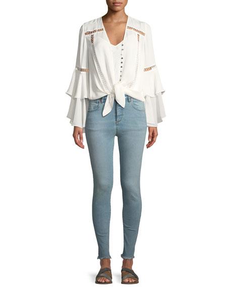 Taylor High-Rise Skinny Jeans w/ Frayed Hem