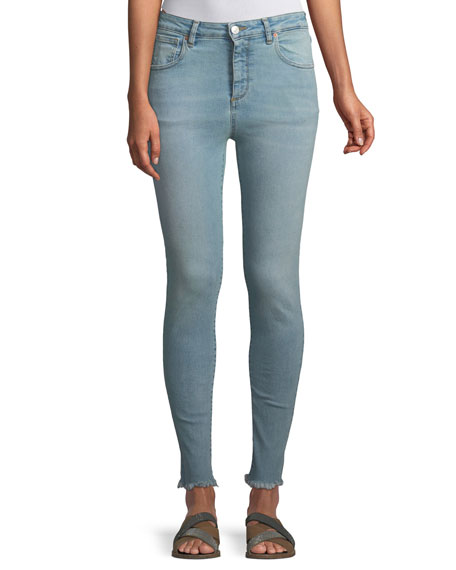 ACYNETIC Taylor High-Rise Skinny Jeans W/ Frayed Hem, Light Blue