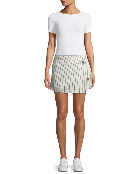 Wrap-Tie Skirt in Split Stripes