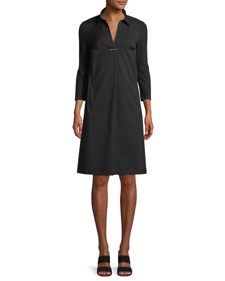 Zac Classic Stretch-Poplin Dress With Jersey Sleeves, Black