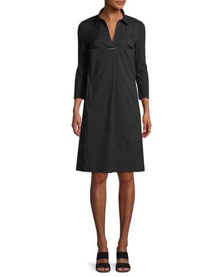 Zac Classic Stretch-Poplin Dress With Jersey Sleeves in Black