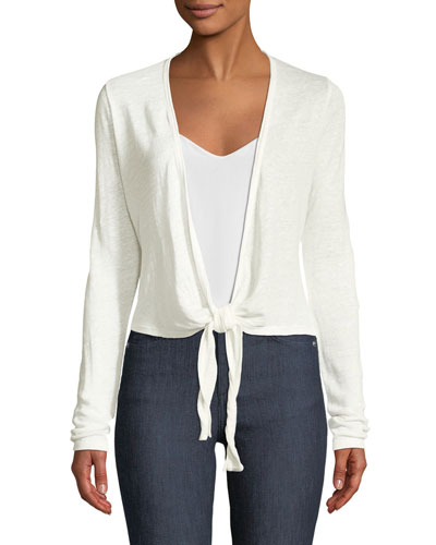 Long-Sleeve Linen Wrap Cardigan