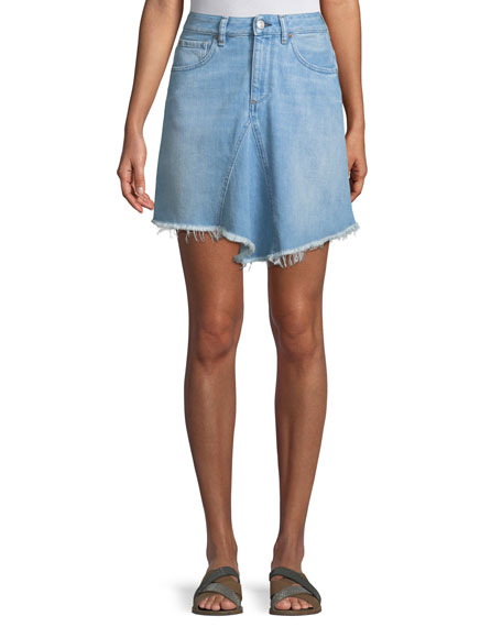 ACYNETIC MARILYN LEVY A-LINE DENIM SKIRT W/ ASYMMETRIC FRAYED HEM