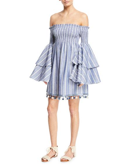 Caroline Constas Appolonia Off-the-Shoulder Striped Bell-Sleeve