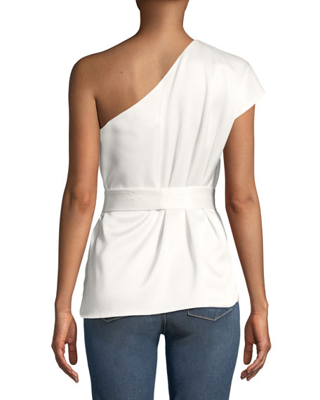 Lavine One-Sleeve Tie-Waist Top