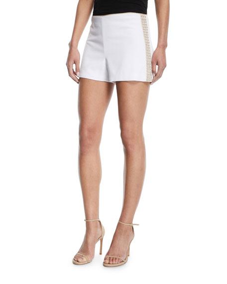Sherri Embellished Back-Zip Shorts in White
