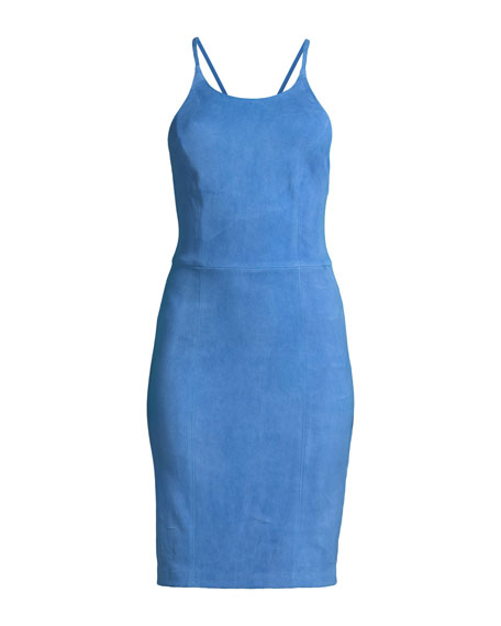 Singer Suede Cross-Back Fitted Cocktail Dress
