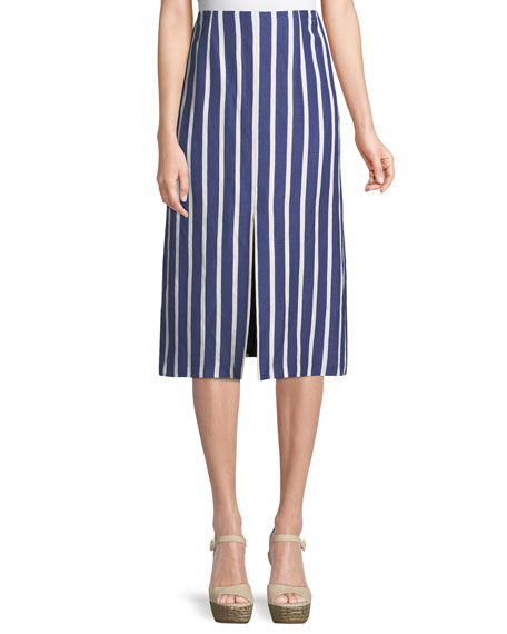 Sabrena Front-Slit A-Line Midi Skirt