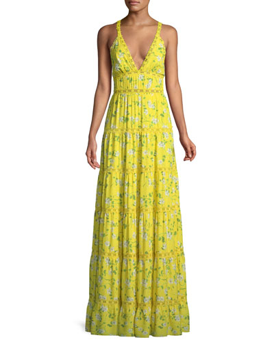 Karolina Floral-Print Tiered Maxi Dress