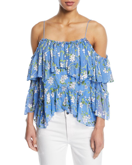 Tia Floral-Print Ruffled Blouse