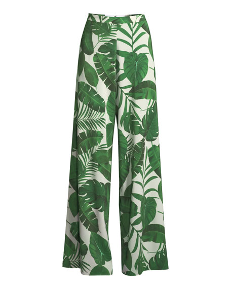 Athena Super Flared Palm-Leaf Print Pants