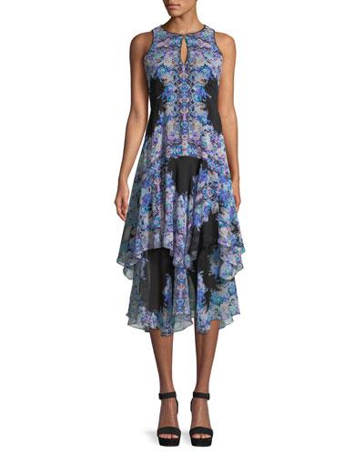 Canary Tiered Dress w/ Keyhole Cutouts