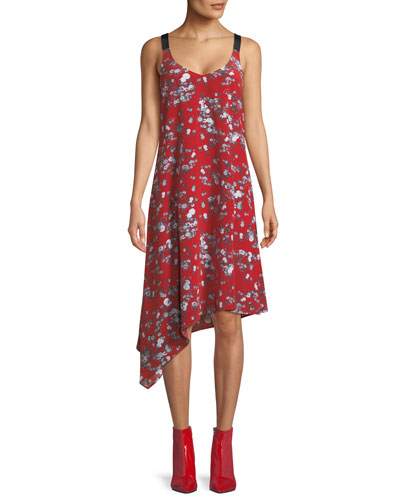 Zoe V-Neck Sleeveless Floral-Print Silk Dress