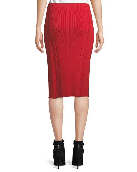 Brandy Rib-Knit Midi Pencil Skirt