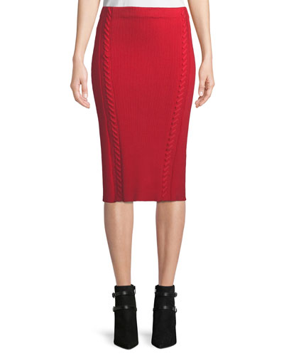 Brandy Rib-Knit Midi Pencil Skirt