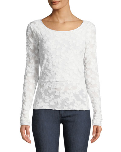 Lucie Long-Sleeve Burnout Top