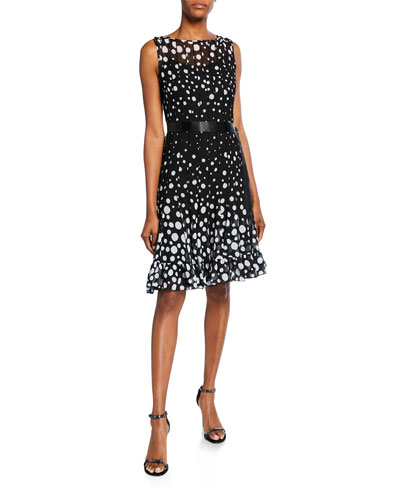 8f9ca83727c Sleeveless Chiffon Polka Dot Pintuck Dress