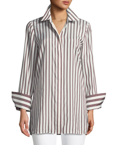 Waylon Showcase Stripe Silk Blouse