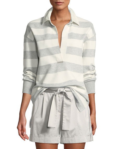 Antonia Laszlo Stripe Rugby Shirt, Pale Grey Multi