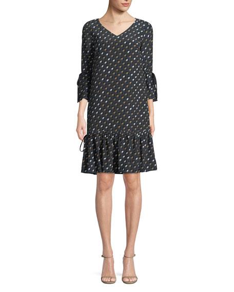 Ana-Grace Gliding Geo Drop-Waist Dress, Port Blue Multi