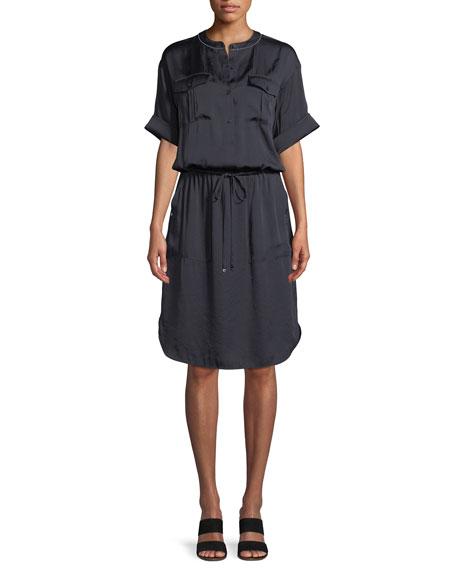 Benson Luminous Cloth Shirt Dress in Ink