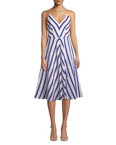 Monroe Chevron Linen-Stretch Midi Dress