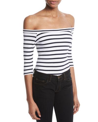 3/4-Sleeve Striped Off-the-Shoulder Bodysuit