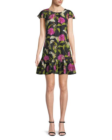 Jill Floral-Print Silk Flounce Dress in Multi