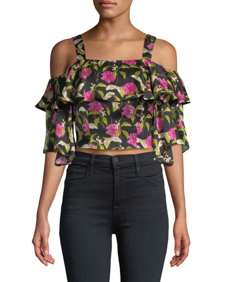 Audrey Floral-Print Ruffled Top