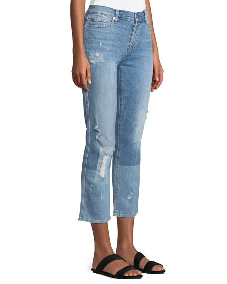 Edie Distressed Bleached Denim Straight-Leg Jeans