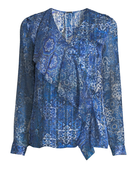 Zona Graphic-Print Long-Sleeve Silk Blouse