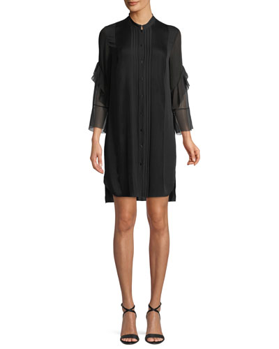 Sawyer Ruffled Silk Shirt Dress