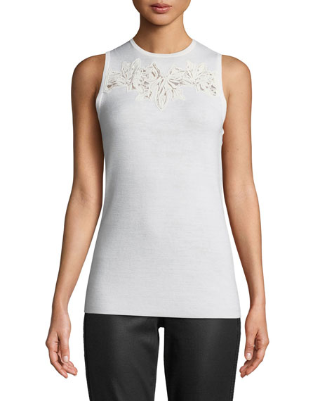 Bell Embroidered-Yoke Sleeveless Sweater