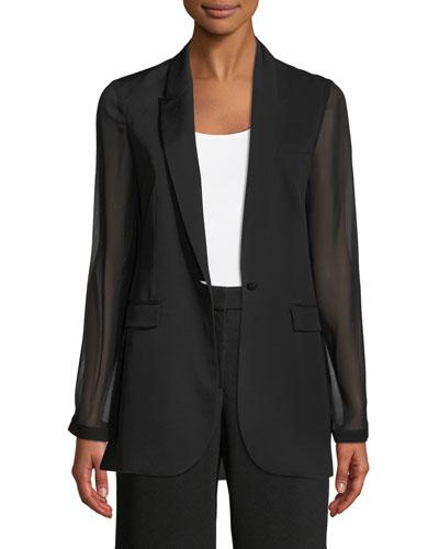 Jovana One-Button Sheer-Sleeve Jacket