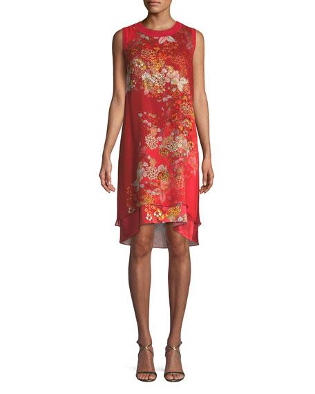 Malaya Sleeveless Floral-Print Dress, Red Pattern