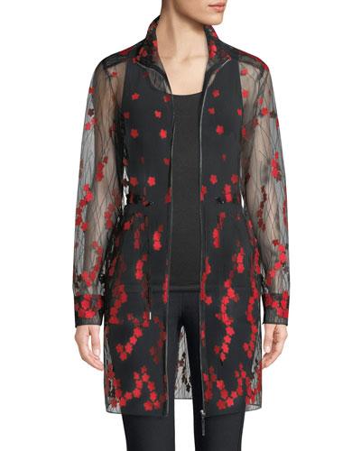 Nicolette Embroidered Sheer Zip-Front Coat