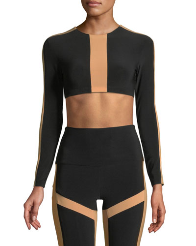 Spliced Bracelet-Sleeve Crop Top